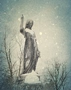 Goth Art Prints - Angel and Snow Print by Gothicolors And Crows
