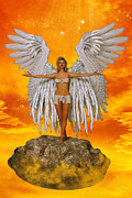 Winged Woman Digital Art Prints - Angel and Sunset Print by Liam Liberty