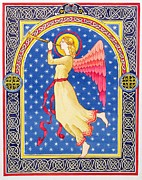 Angel Gabriel Prints - Angel Blowing Trumper Print by Lavinia Hamer