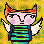 Chihuahua Artwork Posters - Angel Boy #1 Poster by Jen Kelly Hirai