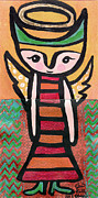 Chihuahua Artwork Posters - Angel Boy #2 Poster by Jen Kelly Hirai