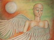 Archangel Pastels Framed Prints - Angel Boy Framed Print by Claudia Cox