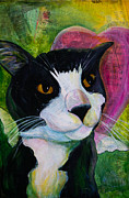 Tuxedo Cat Painting Framed Prints - Angel Cat Framed Print by Kerrie  Hubbard