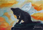 Aceo Original Originals - Angel Cat by Maria Pia Guarneri