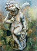 With Sculpture Metal Prints - Angel-cherub Metal Print by Eve Riser Roberts