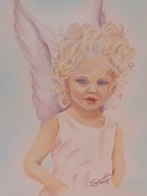 Angel Drawings - Angel Child by Diane Stamp