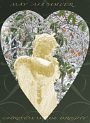 Gold Angel Card Posters - Angel Christmas Card Poster by Debra     Vatalaro