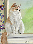 Felines Painting Prints - Angel Daydreams Print by Suzanne Schaefer
