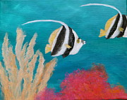 Fish Underwater Paintings - Angel Fish Painting by Amber Palomares