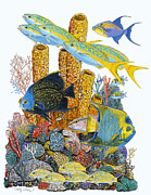 Atlantis Painting Prints - Angel Fish Reef Print by Carey Chen