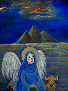 Charlotte Painting Posters - Angel from Eygpt called Lapis Lazueli Poster by The Art With A Heart By Charlotte Phillips