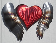 Heart Sculpture Posters - Angel Heart wall sculpture Poster by Robert Blackwell