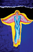 Light Blue Pastels Posters - Angel in Red Poster by Mike Manzi