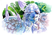 Headstones Painting Prints - Angel in Stone Print by Ken Meyer jr