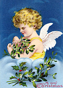 Cards Vintage Prints - Angel in Yellow Dress Print by Munir Alawi