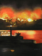 Marin County Mixed Media Posters - Angel Island Fire Poster by Janaka Ruiz