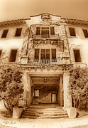 Sausalito Metal Prints - Angel Island State Park California - East Garrison Hospital - San Francisco Bay - Sepia Metal Print by David Rigg
