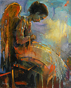 Child Praying Paintings - Angel Meditation by Michal Kwarciak
