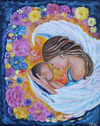 Diana Haronis Posters - Angel Mother and Child Poster by Diana Haronis