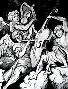 Adoration Drawings Prints - Angel Musicians after Giovanni Battista Merano Print by Greg Thweatt