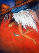 Workshop Guillaume Art Gallery Pastels Prints - Angel Of Death  Print by Guillaume Bruno
