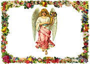 Cards Vintage Prints - Angel of Flowers Print by Munir Alawi