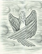 Satan Drawings - Angel of Light by Laurie Ellis