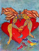 Crows Framed Prints Framed Prints - Angel of my hearts Framed Print by Suzanne Macdonald