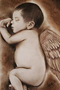 Wings Drawings - Angel of My Tears by Sheena Pike