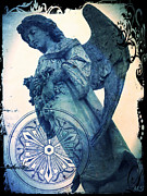 Black White Spiritual Angel Art Prints - Angel of Peace - Art Nouveau Print by Absinthe Art By Michelle LeAnn Scott
