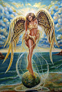 Stripped Paintings - Angel Of Sunrise by Sergey Malkov