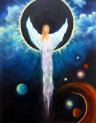 Visionary Art Painting Prints - Angel Of The Eclipse Print by Marina Petro