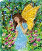Angelic Pastels Prints - Angel of the Garden Print by Wendy Le Ber