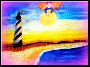 Beach Prints Pastels Prints - Angel of the Lighthouse Print by Maryann  DAmico