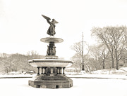 Central Framed Prints - Angel of the Waters - Central Park - Winter Framed Print by Vivienne Gucwa