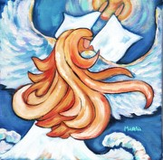 Ball Gown Painting Prints - Angel On A Mission Print by Marla Hoover