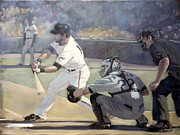 Sf Giants Prints - Angel Pagan - Leadoff Hit Print by Darren Kerr