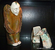 Featured Ceramics Originals - Angel Pondering Modern Art by Satya Winkelman