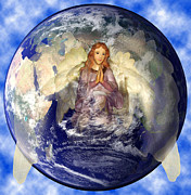 Equine Photographs Posters Posters - Angel Praying for World Peace Poster by The Kepharts