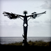 Crows Prints - Angel Sculpture on the Oregon Coast Print by Carol Leigh