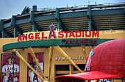 Baseball Art Print Art - Angel Stadium by Ricky Barnard
