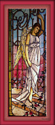 Greeting Card Glass Art Framed Prints - Angel Stained Glass Window Framed Print by Thomas Woolworth
