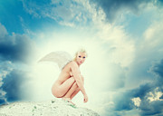 Female Stars Prints - Angel Print by Stylianos Kleanthous