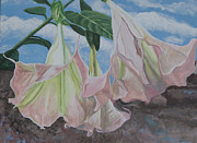 Trumpets Paintings - Angel Trumpets by Debora Baxter Jackson