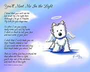 Rainbow Digital Art Metal Prints - Angel Westie With Poem Metal Print by Kim Niles