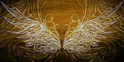 Freedom Mixed Media - Angel Wings Gold by Angelina Vick