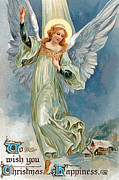 Cards Vintage Digital Art Prints - Angel Wings Print by Munir Alawi