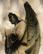 Guardian Angel Metal Prints - Angel Wings Praying - Spiritual Angel In Clouds Metal Print by Kathy Fornal