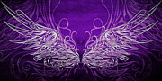 Violet Mixed Media Posters - Angel Wings Royal Poster by Angelina Vick