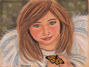 Religious Pastels Framed Prints - Angel With A Butterfly Framed Print by Cheryl McNulty
